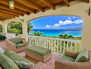 Large covered deck with spectacular views.  Comfy lounge seating and dining.