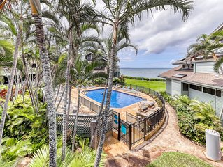 Gorgeous condo w/ocean views, lanai, shared pool - a walk away from the beach!