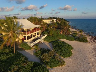 4BR-Heritage House: Oceanfront Private Villa in Rum Point with Sizable Pool.