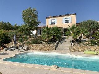 Appart adossé au mas provencal  avec piscine, vue mer panoramique
