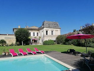 Grande maison de famille à Libourne avec beau jardin et piscine