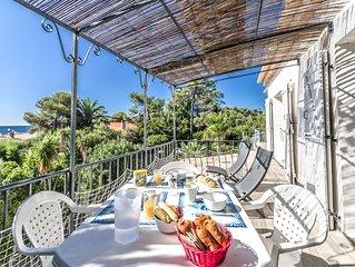 Superbe Appartement Villa avec jardin  à 3mn  de la plage. Vue Mer