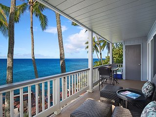 Poipu Palms #203: Pristine, Updated Oceanfront Gem W/ Sunsets & Crashing Waves!