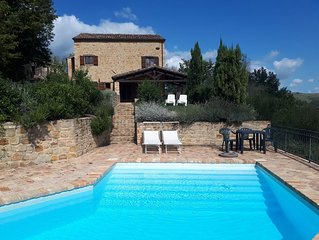 Lovely peaceful stone farmhouse with pool and beautiful views
