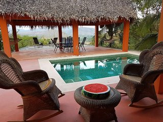 Private Hilltop 2-story Villa with Pool & Wi-Fi. Sleeps 6. Stunning Jungle View