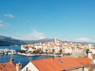 Three bedroom apartment with balcony and sea view Korcula (A-15689-a)