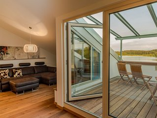 Direkt am See, Appartementhaus Lebensart am See, FeWo Loft 7, Berg- und Seeblick