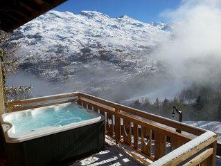 chalet d'alpage 18 places jacuzzi calme vue panoramique au bord d'une piste bleu
