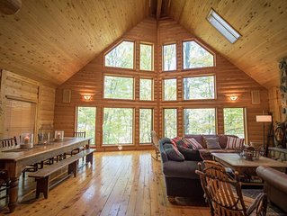 In-Town Log Cabin Home w/ Fire Place & Nature Views