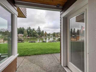 Cozy, waterfront getaway w/ a kitchenette, outdoor seating, & lake access