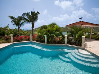 Villa Bijou - Tranquil 3 BR, A/C throughout,  Pool ,overlooking Great Cruz Bay