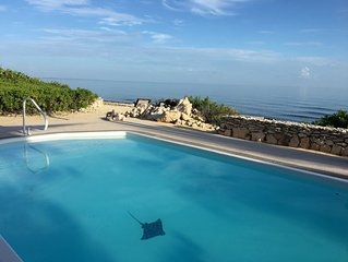 Contemporary open house, oceanfront, private pool, sweet sunsets.