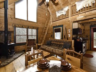 Private & adorable, living/kitchen up & below, spa, fire pit, paved rd. sleeps 6