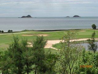 Traumblick auf Strand u. Golfplatz in Hua Hin in luxuriöser 3 Zi. Wg Vollausst.
