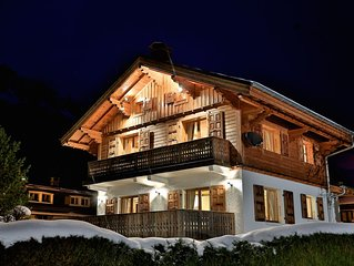 Luxury chalet in Chamonix centre, all en suite, log fire, hot tub