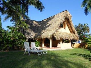 Palmengedecktes Haus im tropischen Garten