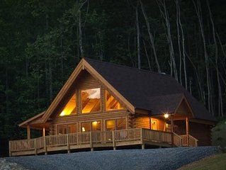 Meadow View Cabin, a new deluxe log home near Lexington VA.
