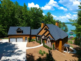 Luxury Lakefront, Mountain view, Private Cove, Deep Water, w/ Boat available