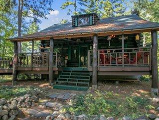 Waterfront Log home on Private Adirondack Lake near Lake George