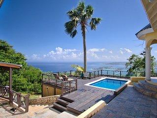 Secure, private villa w/breathtaking views, pool, wi-fi, AC, staff, sleeps 10-12