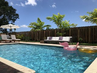 BEACHY & LARGE 4BR HOME WITH HEATED POOL IN FORT LAUDERDALE AREA, PRIME LOCATION