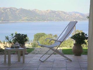 Corse. Qualité, calme, terrasses, jardinet, piscine, vue mer, plage à 600
