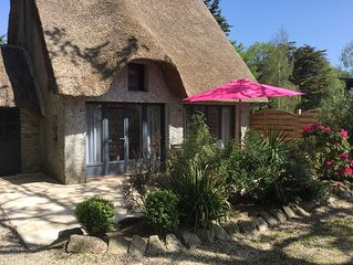 authentic thatched Briéronne with pool and jacuzzi