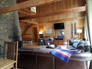 Rustic Family Retreat - Huge fireplace, firepit, deck & balcony in the woods