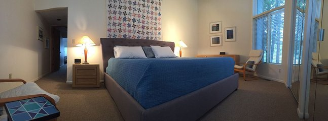 Master Bedroom, new bed frame with a king bed- memory foam with gel top.