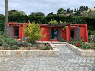 Independent quiet house with front & side terraces with view over Nice