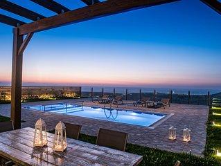 Hilltop Sea Panoramic Views  at Thea Giasemi villa with Pool+BBQ, 4km to Beach