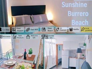 ☀ SunShine Playa Burrero, Airport 10', Terrace, Fast Wifi&Parking+Snorkel kits
