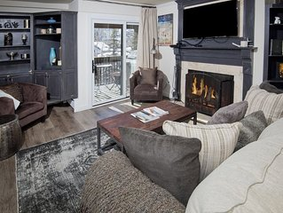 An affordable condo rental with scenic mountain views, hot tub and wood fireplac