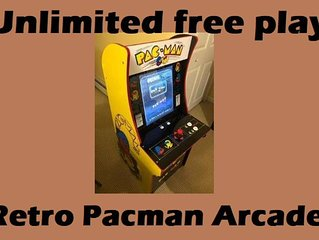 Unlimited free play retro Pacman arcade located in utility room