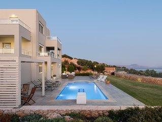 Villa Anemolia! With private Pool & Garden! Unique sea views! 1 km to the beach!