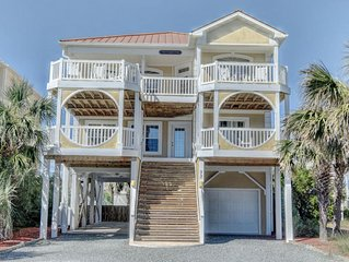 5BR Beach Home, Private Pool, Game Room. Walk to town, shops, mini golf  & pier