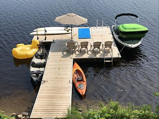 Family Friendly Cottage for Rent With Water Trampoline, 2 SUP, Canoe, Kayak