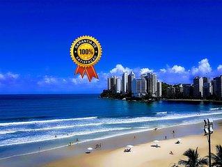 Apto no Guarujá, frente pro mar, serviço de praia, wi-fi,ar condicionado,garagem