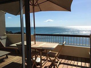 Acces direct plage-Vue mer exceptionnelle-Belle terrasse- WIFI-Refait a Neuf