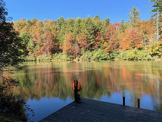 Beautiful mountain home on a private, secluded lake!  Can sleep up to 10 people.
