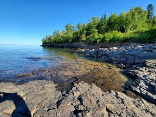Stunning Lake Superior waterfront townhome with view up the coast for miles