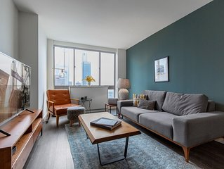 Airy Hell's Kitchen 1BR w/ Gym, W/D, Deck, at Times Sq, by Blueground