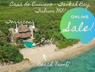 DISCOUNTED RATES! OPEN-AIR VILLA ON TANKAH BAY WALK TO CENOTE,|10 MINS TULUM