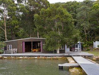 OXLEY BOATSHED . arrive by boat . HAWKESBURY RIVER. stunning original boatshed
