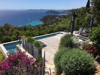 Villa contemporaine, vue mer, grand confort, 5 ch.,11 pers., piscine 3,6x10,6m