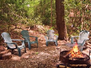 Wooded Setting - Mountain Stream - Real Fireplace - Privacy 4TH NIGHT FREE!