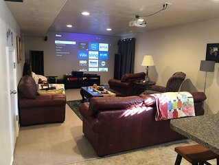 Large Basement, close to ski resorts and Mountain America convention center.