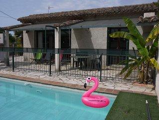 Villa tout confort *** ,  plain-pied, piscine privée clôturée, 10 mn de la mer