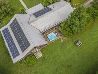 Solar Powered with Massive Timber Framed Great Room.   The Meadows