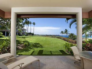 Expansive Ocean views, relax on ground floor lanai while kids play on front lawn